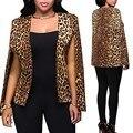Nova Chegada 2016 Mulheres Da Moda Casaco com Estampa de Leopardo Senhoras Dividir Manga Comprida Sexy Casaco Curto Feminino Cardigan Casual Outwear