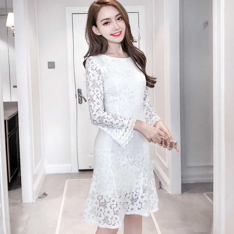 Lace Slim Tunic Package Hip Ruffles Dress Women Elegant Vintage  Korean Sweet Sexy Office Party Dress 2019  Lady Clothing White