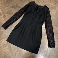 Весна Осень кружевное черное платье с длинным рукавом женское кружевное лоскутное Открытое сексуальное платье женское Формальное черное к