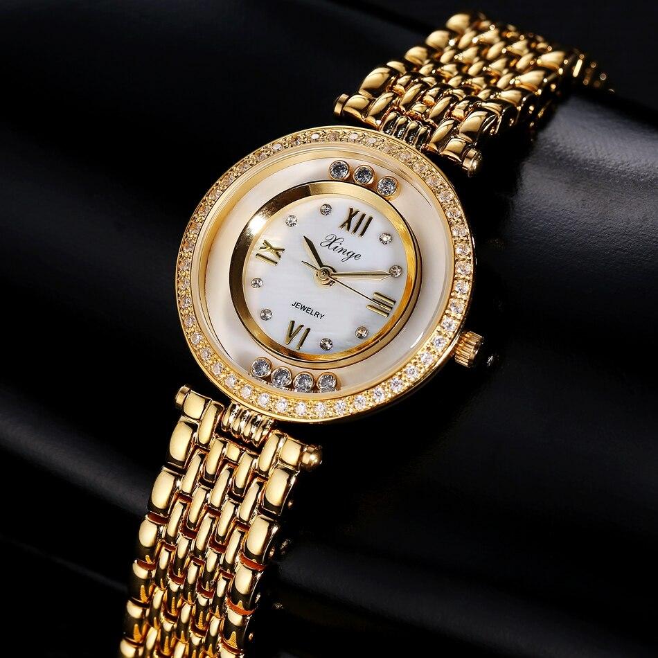 Watch Xinge Top Brand Luxury Women 3A Zircon Crystal Bracelet Quartz Watch Women Dress Business Fashion Watch S0358 fashion women s sparkle crystal bracelet quartz dress watch