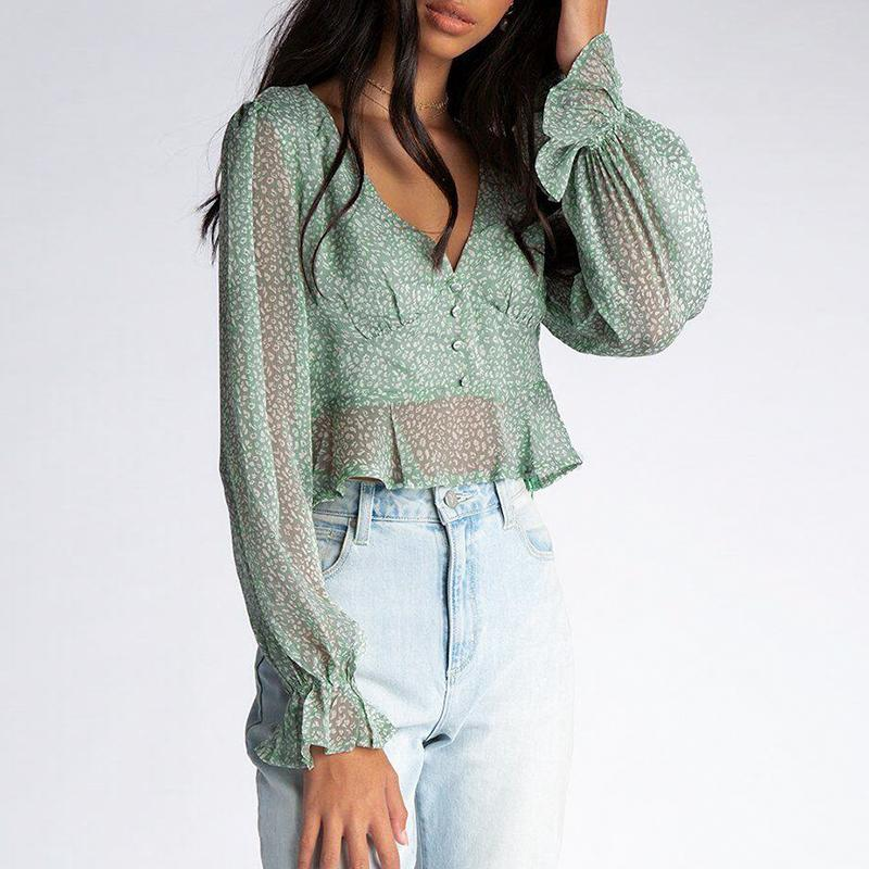 Femajor Women Autumn V Neck Green Print Long Sleeves Tops and   Blouse   Female Fashion Puff Sleeve See Through Chiffon   Shirt   Mujer
