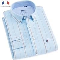 Langmeng long sleeve 100% cotton casual shirt men brand clothing fashion striped dress shirt mens male social shirt thick oxford