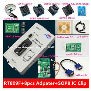 Image 1 - Бесплатная доставка 100% оригинальный новейший RT809F ЖК ISP программатор с 8 адаптерами + тестовый зажим sop8 IC + плата ICSP/кабель ISP
