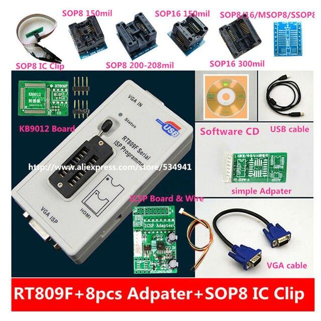 Бесплатная доставка 100% оригинальный новейший RT809F ЖК ISP программатор с 8 адаптерами + тестовый зажим sop8 IC + плата ICSP/кабель ISP