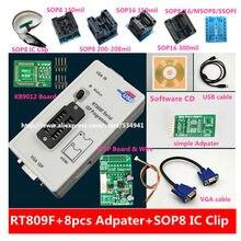 شحن مجاني 100% أصلي أحدث RT809F LCD ISP مبرمج مع 8 محولات + sop8 IC اختبار كليب + ICSP مجلس/ISP كابل