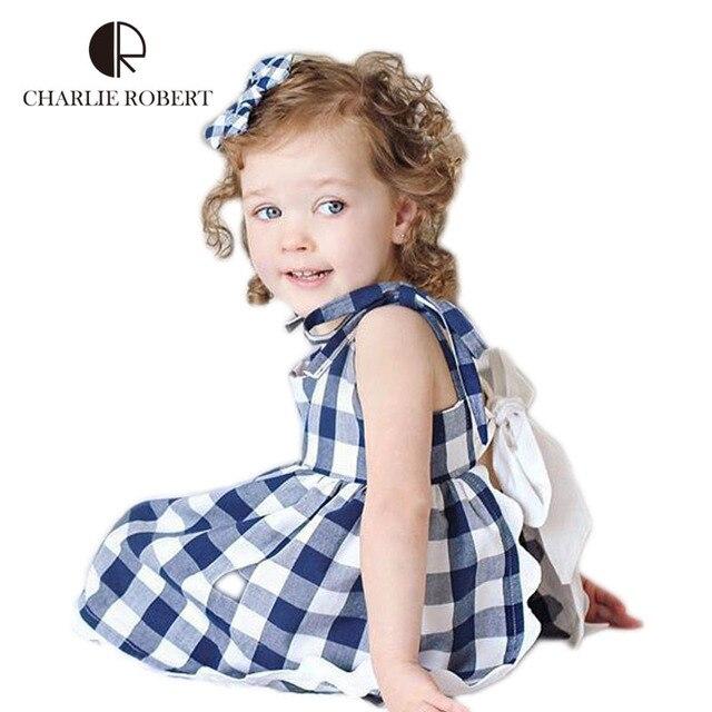 Милый Ребенок Одежда Девушки Одеваются Детские Наборы для Новорожденных Одежда Девочка Красный Синий Плед Бантом Платье Детская Одежда Девушки костюм