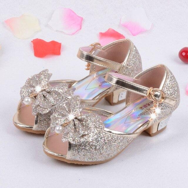 9e68f4bc3f3 2017 Children Princess Sandals Enfants Kids Girls Wedding Shoes High Heels  Dress Shoes Party Shoes For Girls Pink Blue Gold