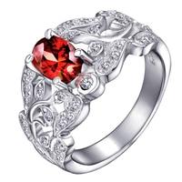 Natural Red Garnet Ring 925 Sterling silver Woman Fashion Fine Jewelry Retro leaf Handmade Birthstone Gift sr0005g
