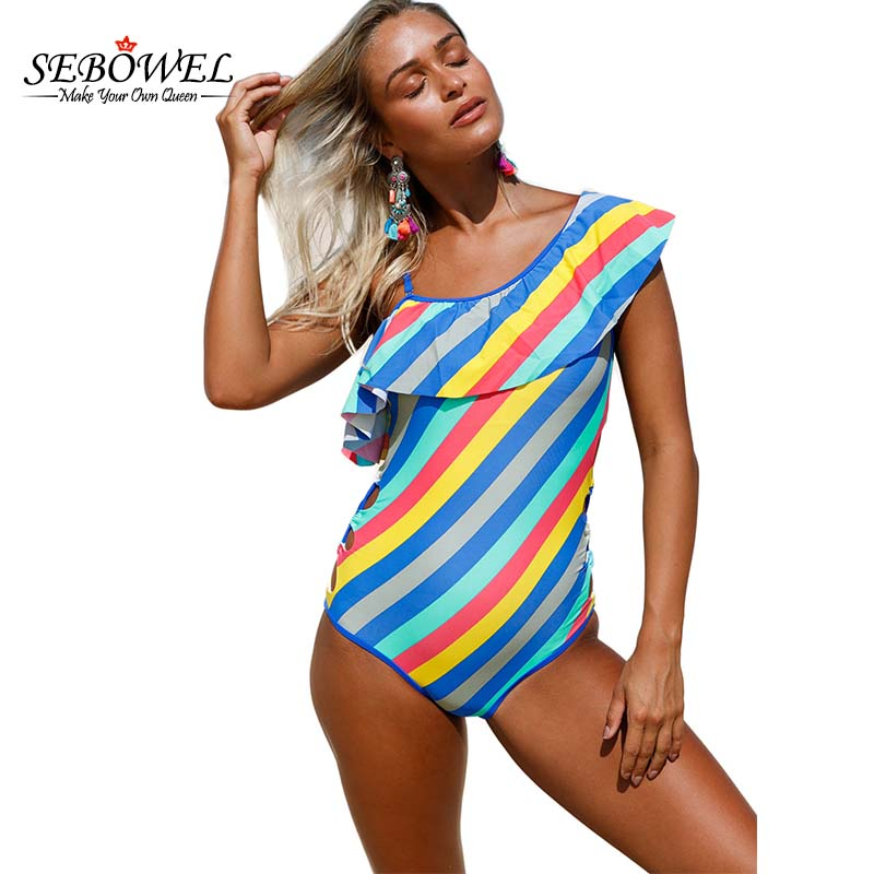 acc9d4abad308 SEBOWEL Sexy Colorful Stripes Ruffle One Piece Swimsuit Women Ruffle  Swimwear One Shoulder Off Bodysuit Bathing Suit Monokini