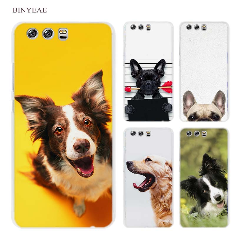 BINYEAE French bulldog border collie terrier dog Hard Transparent Case Cover Coque for Huawei P8 P9 P10 Lite 2017 Plus P7