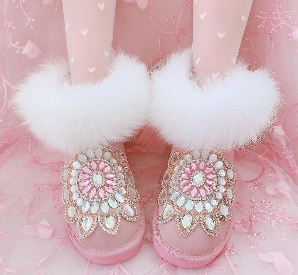 newest 2018 winter bling bling crystal flats mid-calf boots fur decor snow boots for girls Luxury design Rhinestone shoes women top selling 2016 luxury high quality white bling bling crystal fur inside winter snow boots top designer women mid calf boots