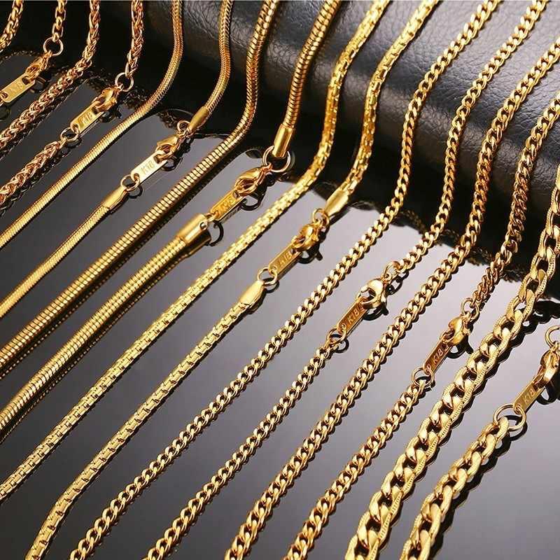 3-6 ミリメートル男性ネックレスゴールドトーンスネークチェーンマイアミキューバリンクとラウンドボックスと小麦チェーンステンレス鋼チョーカージュエリー 24-27in