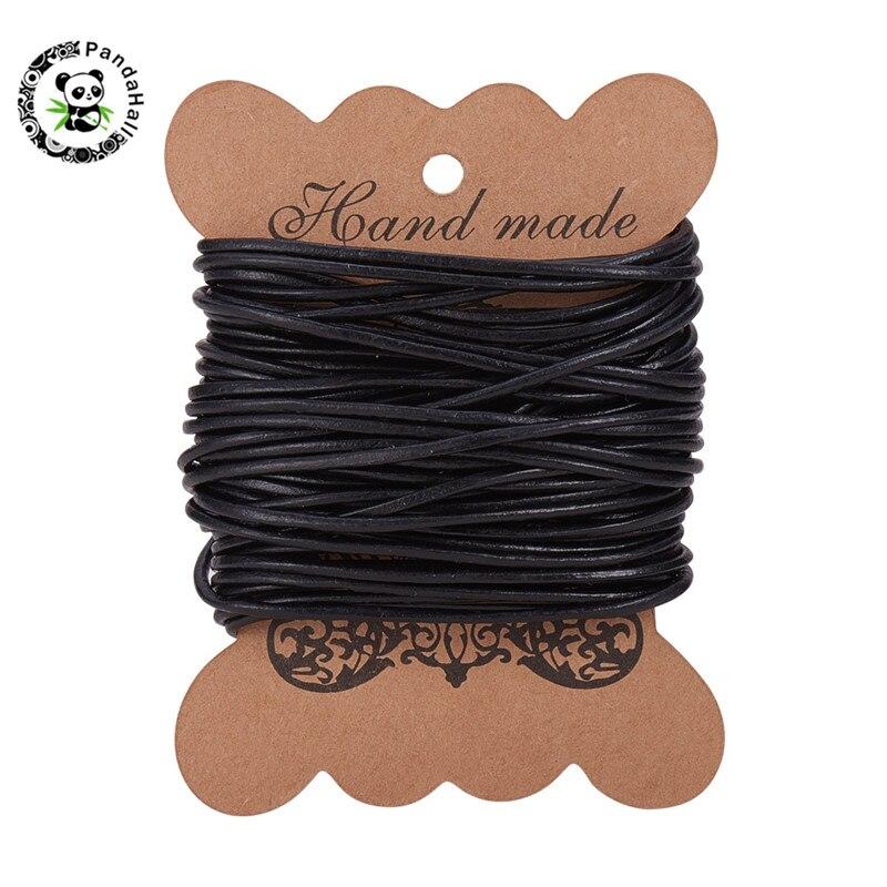 Collier//lani/ère en cuir noir 2 mm 1 m cuir de vachette de qualit/é sup/érieure
