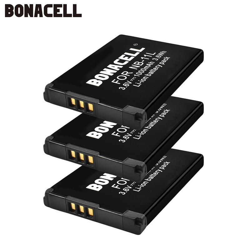 bonacell 3pcs 3.6V 1000mAh Rechargeable Batteries NB-11L Battery NB 11L for <font><b>Canon</b></font> <font><b>PowerShot</b></font> <font><b>SX410</b></font> SX400 <font><b>IS</b></font> ELPH 320 image