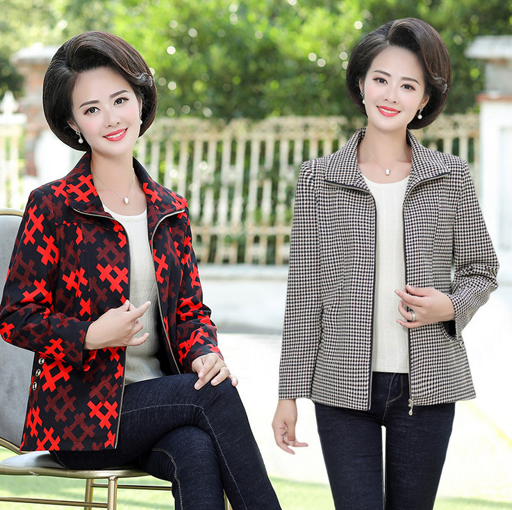Cardigan Jackets Middle-Aged Plus-Size Coat Fall Printed Women New And Zipper Casual