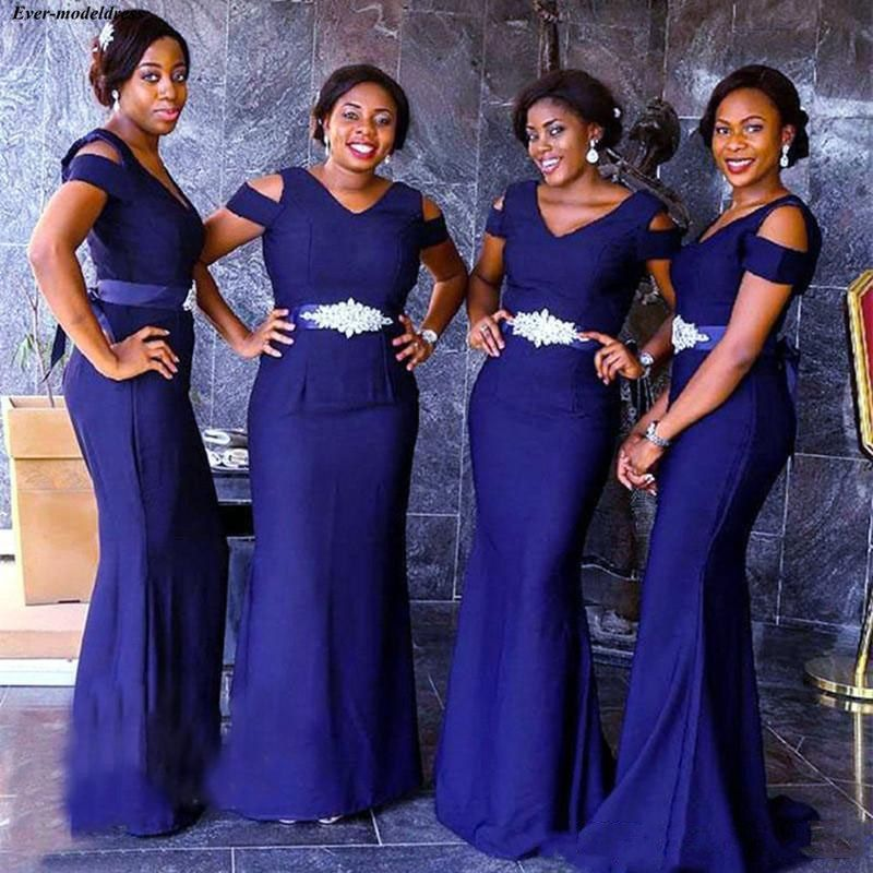 Nigerian Navy Blue   Bridesmaid     Dresses   V Neck Cap Sleeves Mermaid Plus Size Beaded Sash Maid Of Honor   Dress   2019 For Africa Women