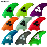 srfda fiberglass and honeycomb blue green orange wihte surfboard fin thruster FCS G5 fin surf fins size M SUP fins Top quality