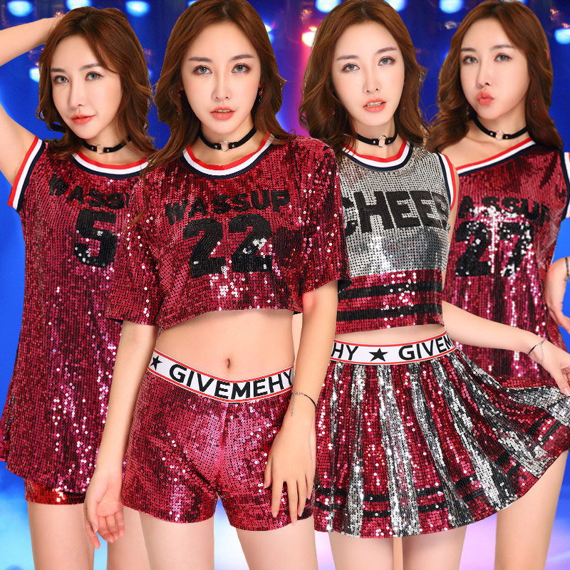 Jazz Dance Costumes Lady Cheerleading Clothing Sexy Red Sequins Nightclub Bar Dj Group Hip Hop Stage Clothes For Singers DN1532