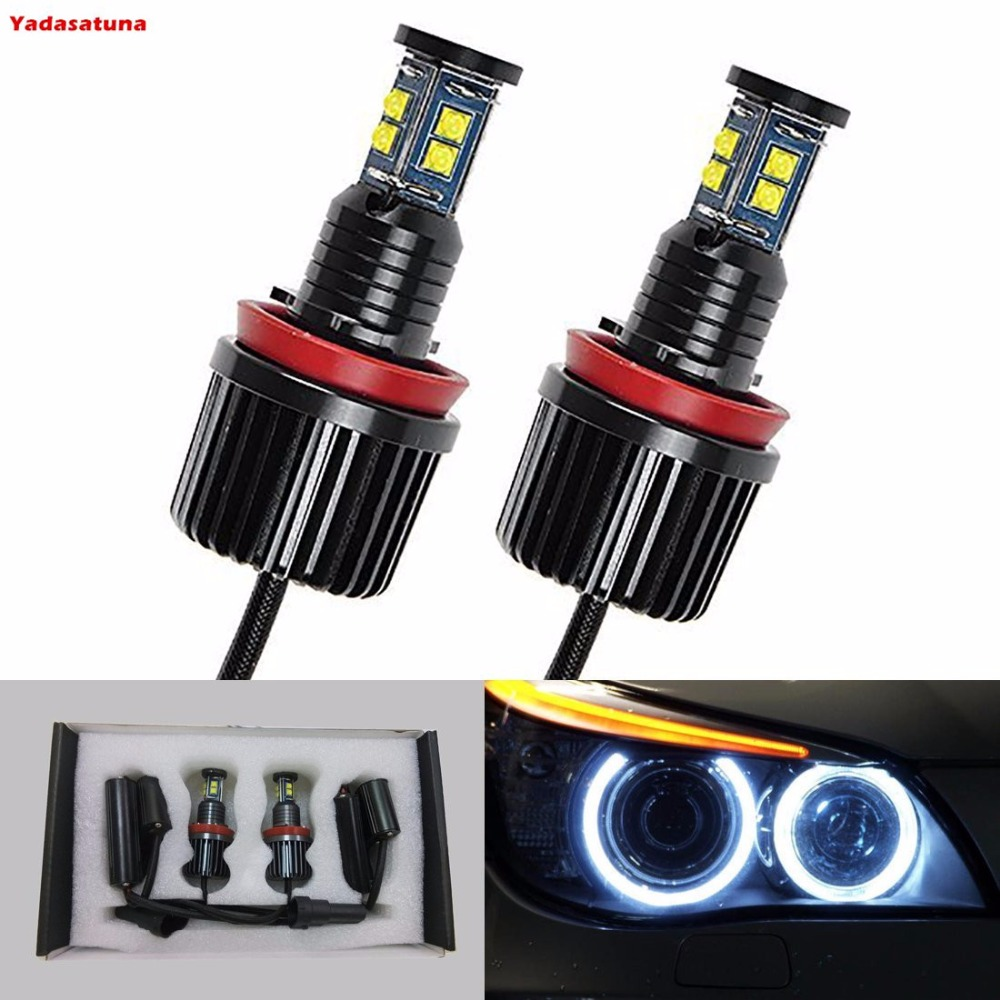 2x 360-Degree 80W CREE Chips Led H8 Angel Eyes Halo Ring DRL Fog Driving Light White High Power Bulbs for BMW E90 E92 E93 X5 2x 2 5 inch led fog angel eyes cob halo ring drl projector lens driving car styling replacement accessory auto bulbs for mazda