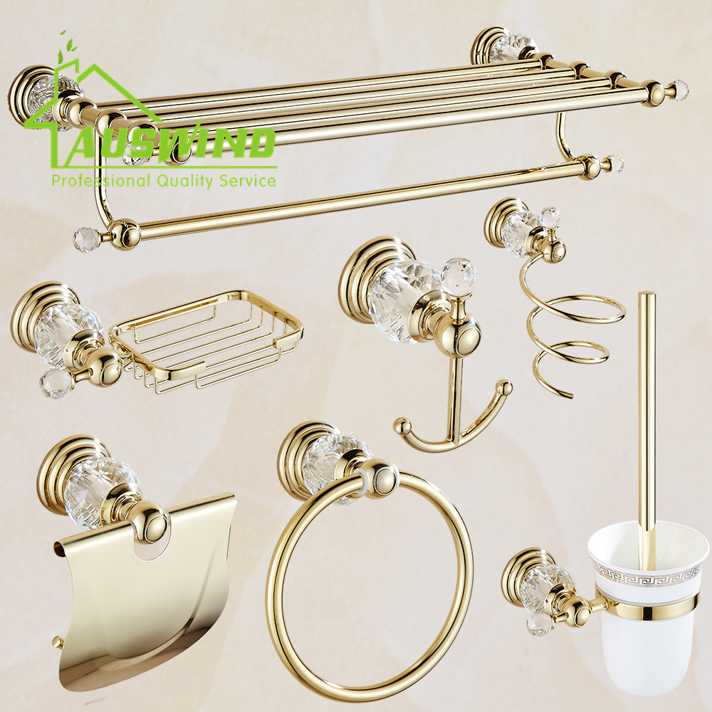 Brass bathroom accessories sets - Solid Brass Bathroom Hardware Sets Gold Polished Bathroom Accessories Wall Mounted Crystal Bathroom Products China