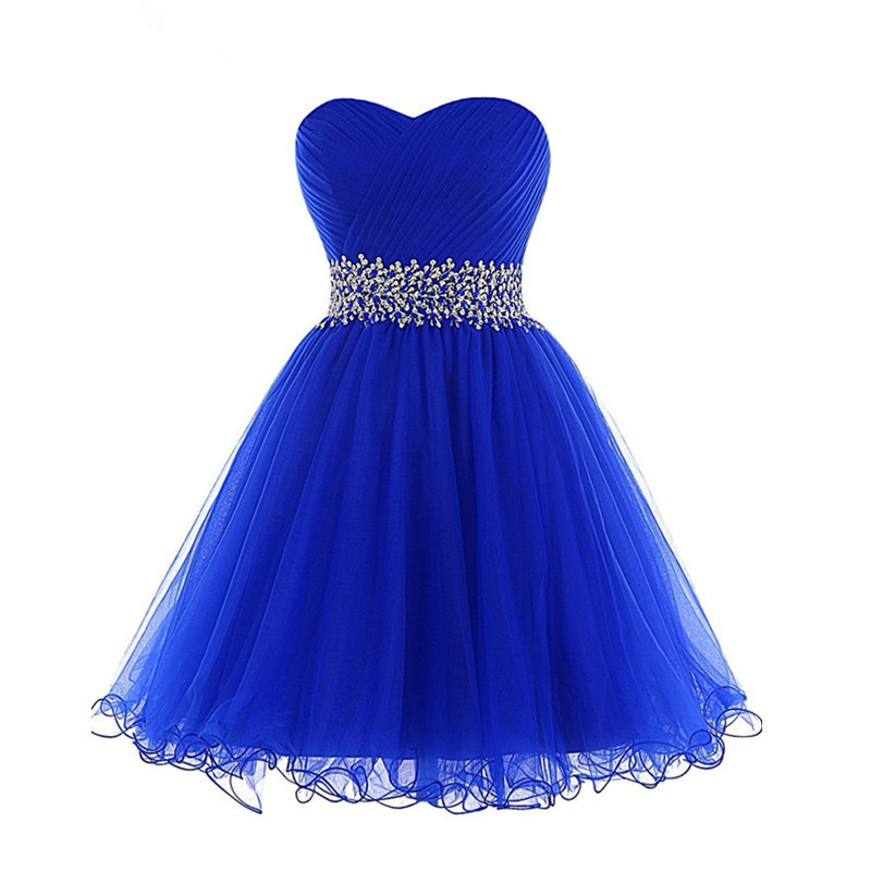 INS Hot Sale Ball Gown Short Prom Dresses Sweetheart Sequins Beading Cocktail Dresses Lace-up Pleats Ruffles Royal Blue Dress