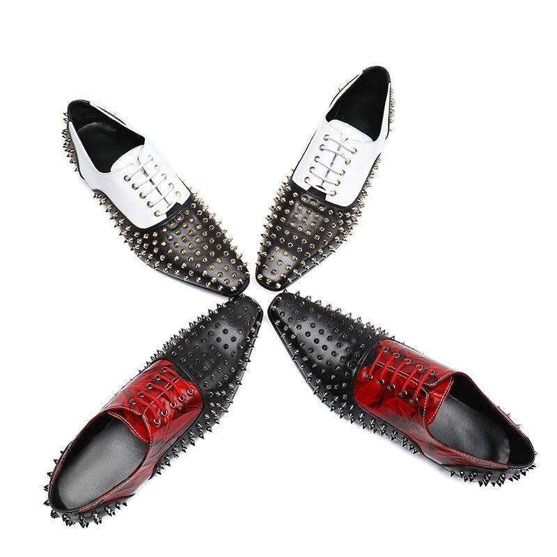 {zorssar} Estilo Moda Cuero Lujo Dedo La Los Boda Remache Puntiagudo Oxford Del De Zapatos Tótem blanco Genuino Rojo Marca Pie Formal Hombres AxqrAz