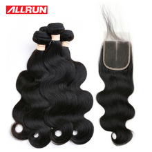 Allrun 4 Pcs Peruvian Body Wave Bundles With 4*4 Lace Closure Natural ColorNon Remy Hair Weave Human Hair Bundles 5 Pcs/lot