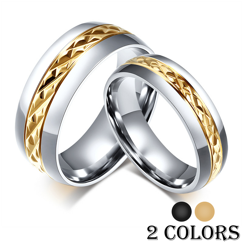 ᗔfashion Black Gold Couple Wedding Rings For Women Men 316l