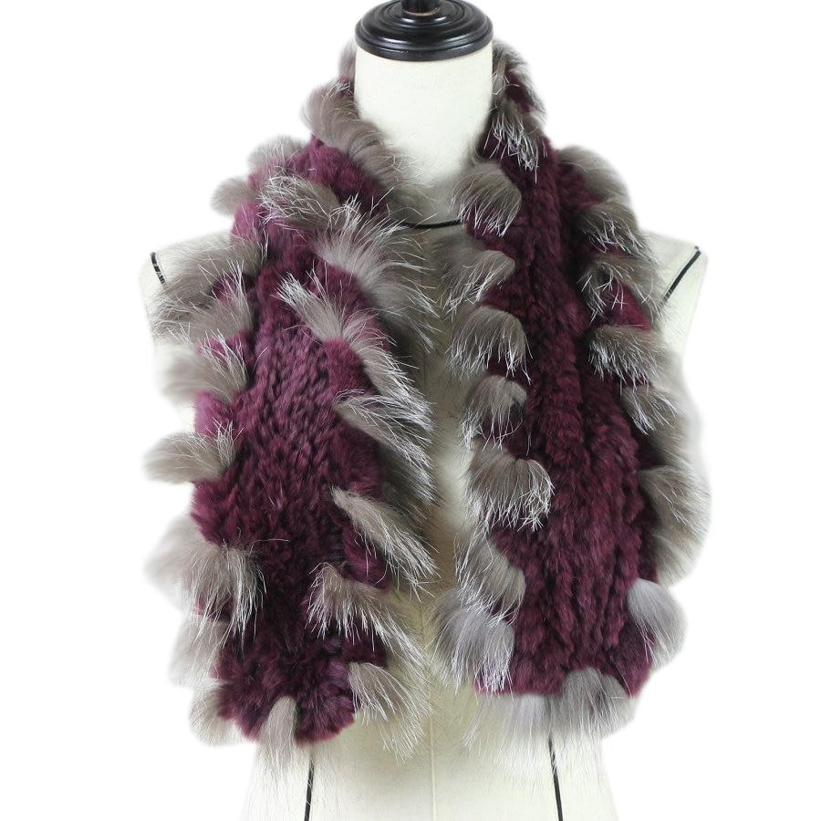 Hot Sale Women Winter Fur Scarves Handmade Genuine Rex Rabbit Fur Scarf Wrap Natural Fur Shawls Winter