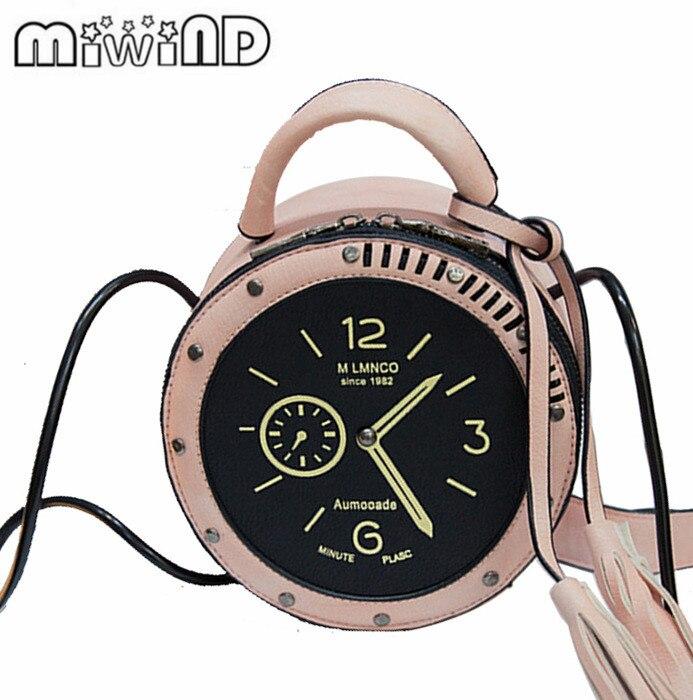 Women Crossbody Bag PU Leather Round Alarm Clock Shape Tassels Shoulder Bags New