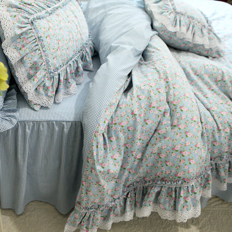 New Fresh Flowers Print Bedding Set Lace Ruffle Duvet Cover Quality Embroidery Bed Sheet Pastoral Bed Skirt Bedspread Bedding