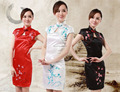 Shanghai Story new sale summer style cheongsam traditional Chinese Style vintage Qipao Dress satin evening dress 3 color JY058