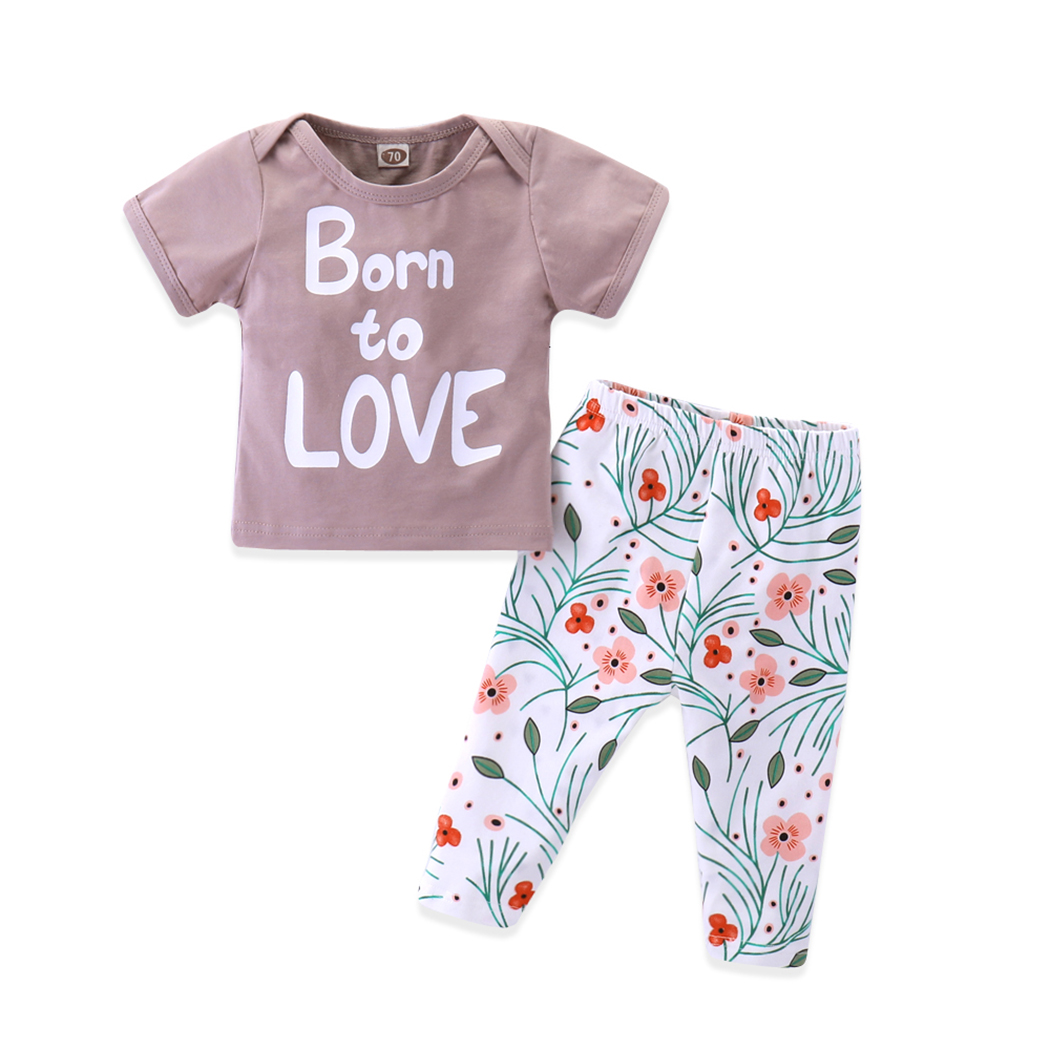 2pcs Newborn Baby Boys Girls Clothing Sets Letter Printed T-shirt + Flower Printed Pants 2018 New Kids Clothes Outfit Suits