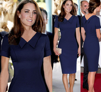 British Princess Kate Fashion Style Dress Peter Pan Collar Short Sleeve Women OL Celebrity Elegant Slim Bodycon Pencil Dress