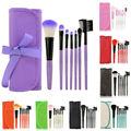 7 pçs/set Maquiagem Blush Sombra Lip Escova Cosmética Brushes Set Kit + Case Bag