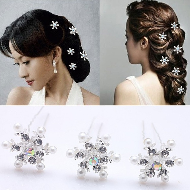 5 pcs Lovely Wedding Bridal Crystal Rhinestone Pearl Snowflake Flower Hair Pin Clips Cute Fashion Jewelry