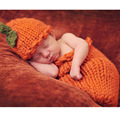 Pumpkin sleeping bag for newborn photo props infant baby crochet knit costume accessories photography prop