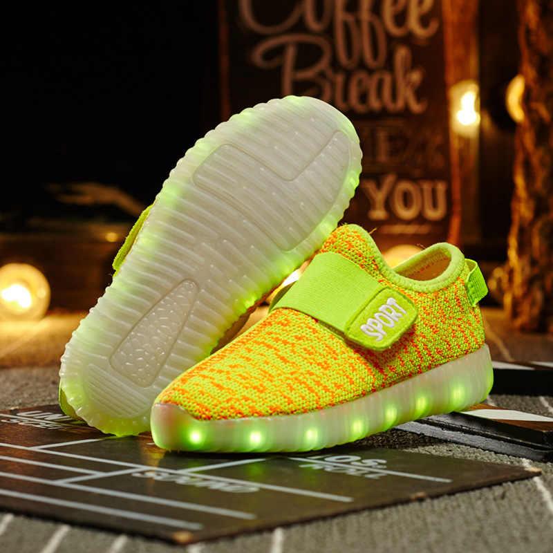 ขนาด 25-37 รองเท้าผ้าใบเด็กรองเท้าส่องสว่าง Led รองเท้าผ้าใบสำหรับ Boys & Girls Krasovki Backlight รองเท้าผ้าใบรองเท้าส่องสว่าง