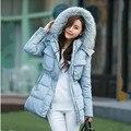 Зимняя куртка женщин 2015 большой меховой воротник с капюшоном вниз куртка женский верхней одежды для женщин теплый тонкий куртки и пальто Q648