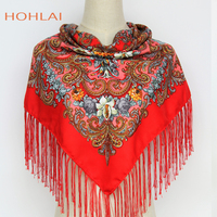 New Style Brand Florals Scarf Russian Ethnic Style Print Flower Pattern Tassel Winter Autumn Warm Square