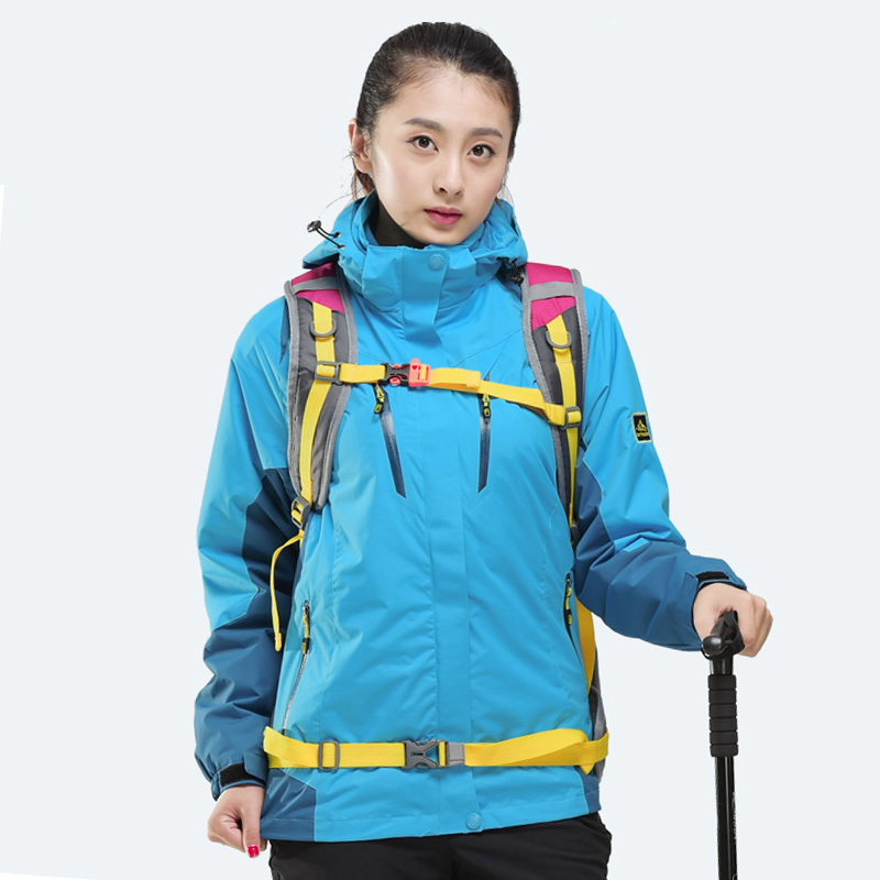 ФОТО 2017 Womens Windproof Waterproof Hiking Sports Jackets Outdoor Warmth Jackets Blue Yellow Purple Red Blue Free Shipping 16627