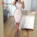 Sexy Cocktail Dresses 2016 Scoop Knee Length Cocktail Party Dresses Short Robe de Satin Appliques Hot Women Gowns Summer Dress