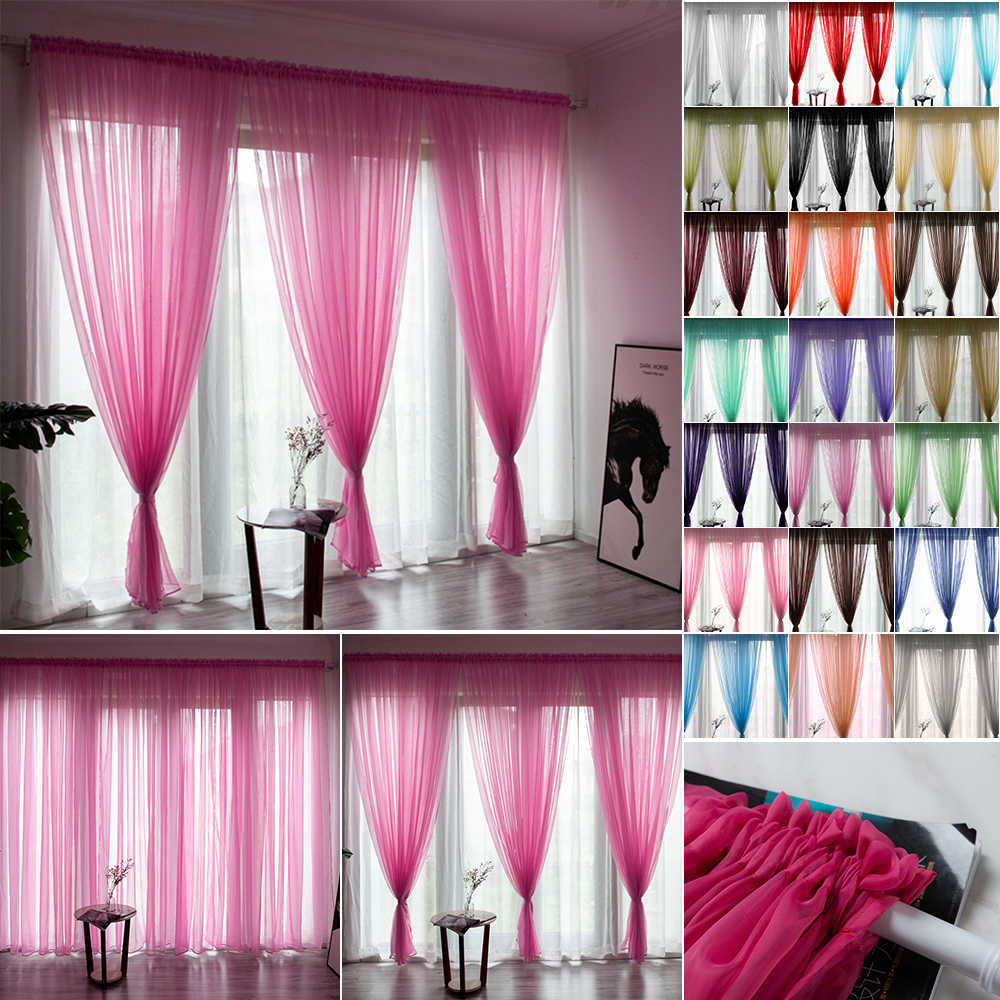 Solid Color Tulle Curtain Window Drape String Curtains For Living Room Bedroom Panel Sheer Tulle Modern Window Treatments