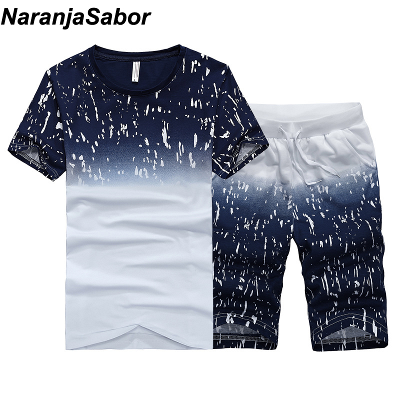 NaranjaSabor verano nuevos hombres Shorts Casual trajes deporte para hombre ropa hombre establece masculino sudadera hombres marca ropa 4XL