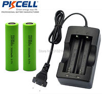 2 x PKCELL Flat Top Lithium Battery Liion Rechargeable Batteries ICR18650 3000mAh 18650 Batteria Single Slot US/EU Plug Charger