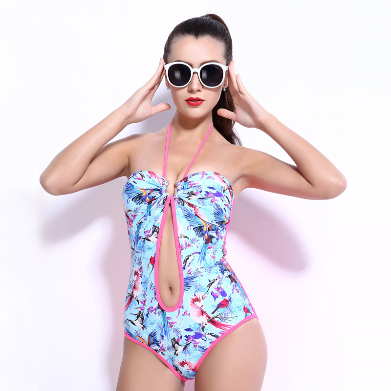 female one-piece women swimwear sexy sling back lace halter open navel swimsuit bathing suit body suit sky blue black printed black sequins embellished open back lace up top