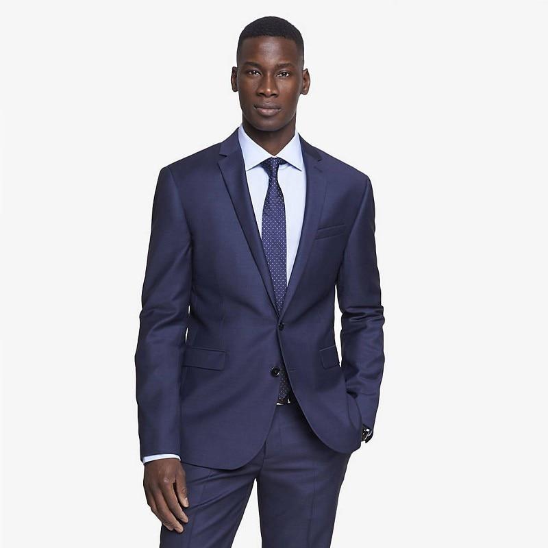 2016 New Custom Made Blue font b Men s b font Wedding font b Suits b