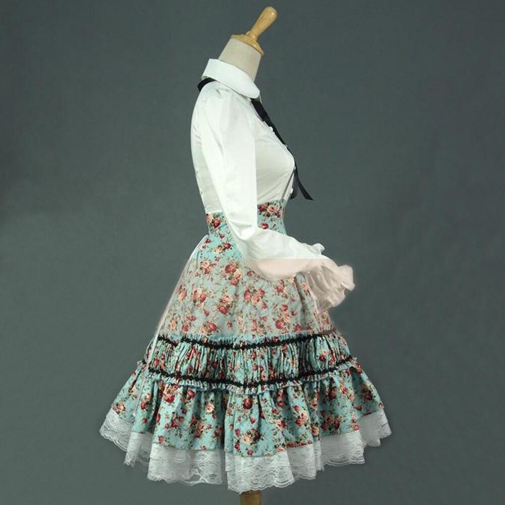 Neue frauen sommer hemd kleid vintage lolita kleid damen Floral spitze bandage Gefaltete kleid Peter Pan kostüme zweiteilige outfits-in Kleider aus Damenbekleidung bei  Gruppe 2