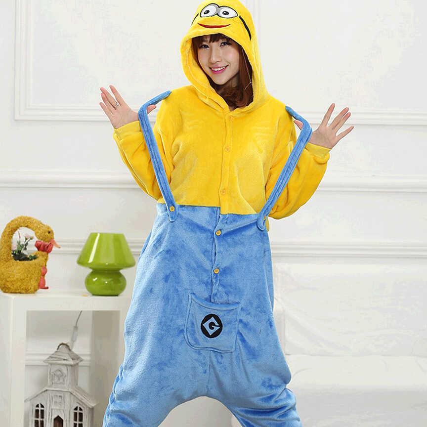 Кигуруми взрослый Миньон Пижама-комбинезон унисекс фланелевые пижамы  Косплэй костюм Рождественская Пижама с капюшоном 6043173373bb0
