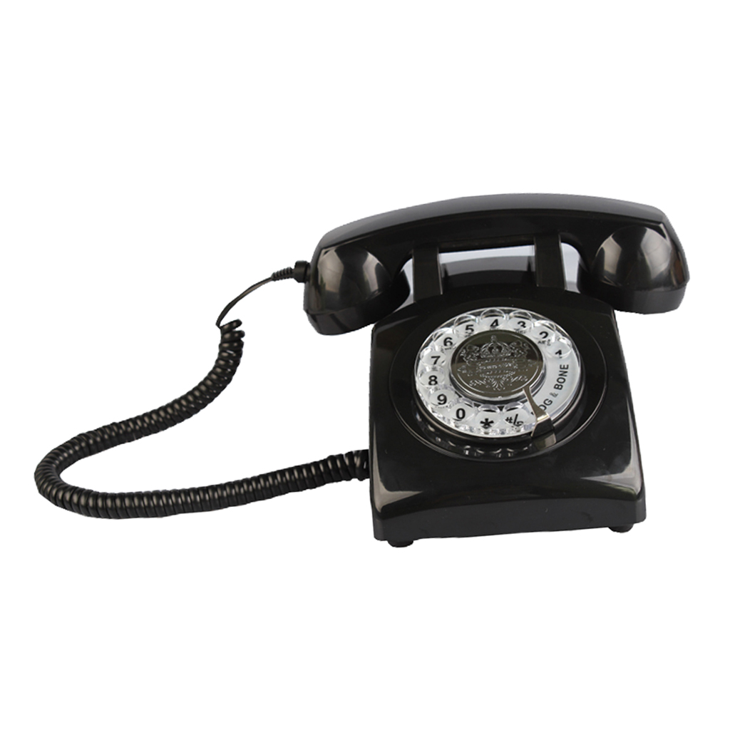 Bell Corded Telephone Landline-Phone Classic Rotary Dial Retro Office-Use Home-Decor